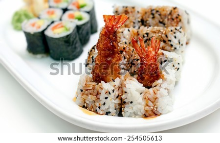 Sushi on Plate - stock photo