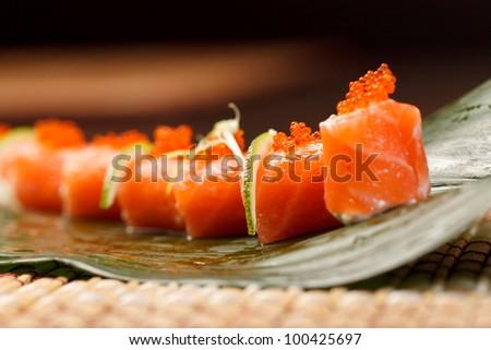 sushi on the leaf - stock photo