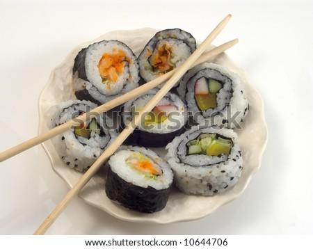 sushi on the white - stock photo