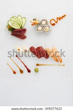 sushi plate flat lay - stock photo