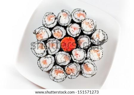 Sushi plate on white background - stock photo