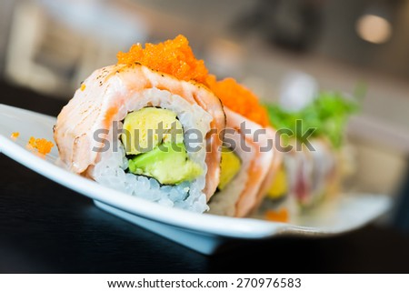 Sushi roll healthy food - japanese food style - stock photo