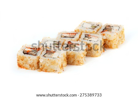 Sushi Roll - Maki Sushi with Salmon Roe, Smoked Eel, Cucumber, Cream Cheese and Deep Fried Vegetables in Chips Tuna and Sesame isolated on white background - stock photo