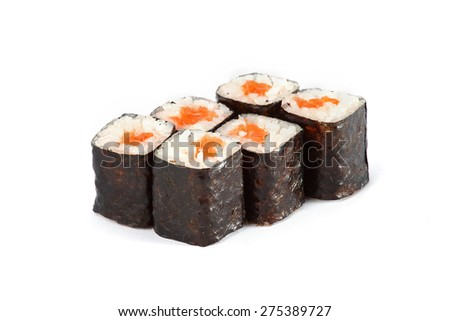 Sushi Roll - Maki Sushi with Smoked Eel, Salmon and Spice Sauce isolated on white background - stock photo
