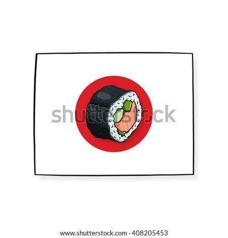 Sushi roll on Japanese flag - stock photo