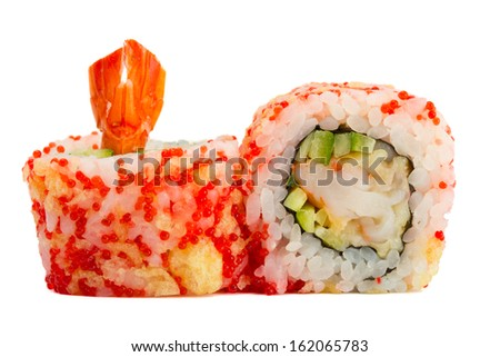 sushi roll with red caviar and tempura isolated on white background - stock photo