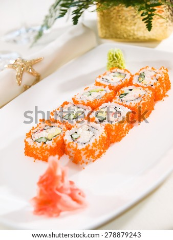 Sushi roll with salmon,tuna and shrimp tempura - stock photo