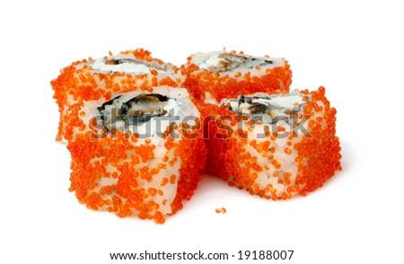 Sushi rolls are isolated on white background - stock photo