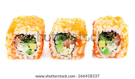 Sushi rolls isolated on white - stock photo