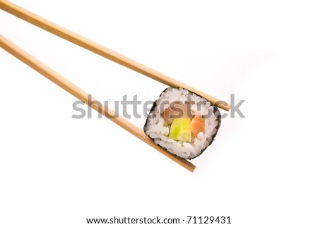 Sushi with chopsticks isolated on a white background - stock photo