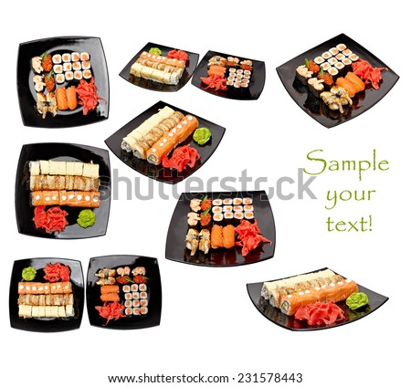 Sushi with ginger and wasabi on a black  plate Isolated on white background - stock photo