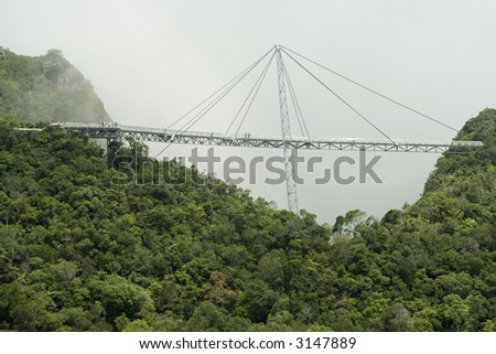Suspension bridge in Geopark, Langkawi Island, Malaysia. - stock photo
