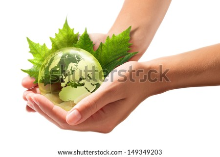 sustainable Development - green world in the hands - europe - stock photo