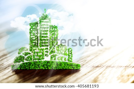 Sustainable urban development sign on wooden background. 3D illustration. - stock photo