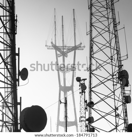 Sutro Tower telecommunication tower in San Francisco - stock photo