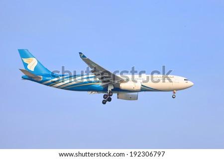 SUVARNABHUMI, BANGKOK - MAY 11, 2014: Oman Air A330-200 A40-DG takeoff from Suvarnabhumi inter national air port at Bangkok Thailand. - stock photo