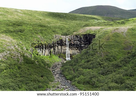 Svartifoss waterfall in Skaftafell, Vatnajökull National Park, Iceland - stock photo