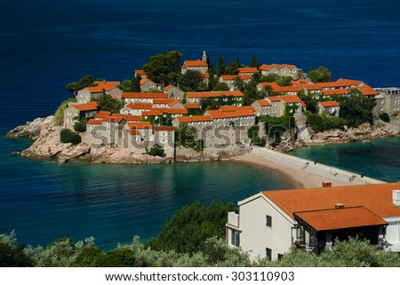 Sveti Stefan island in Budva, Montenegro, Balkans - stock photo