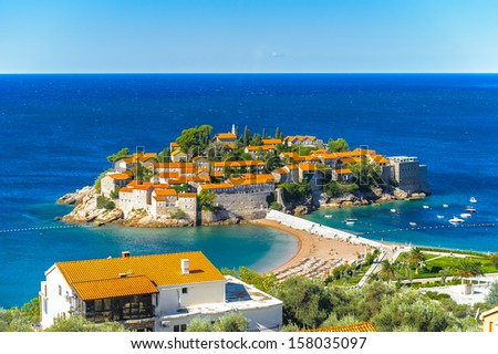 Sveti Stefan (Saint Stephan) Island, a small islet and hotel resort in Montenegro - stock photo