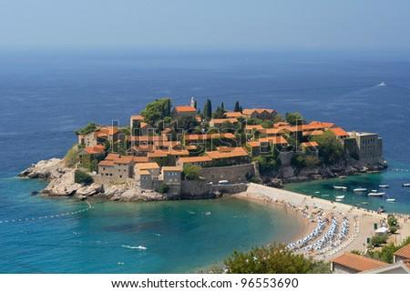 Sveti Stefan, small islet and resort in Montenegro. - stock photo
