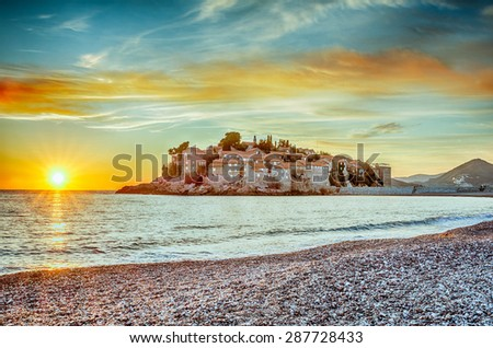 Sveti Stefan small islet in Montenegro in HDR - stock photo