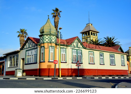 SWAKOPMUND, NAMIBIA OCTOBER 04, 2014: German style house on october 04 2014  The city is situated in the Namib desert and is the fourth largest population centre in Namibia. - stock photo