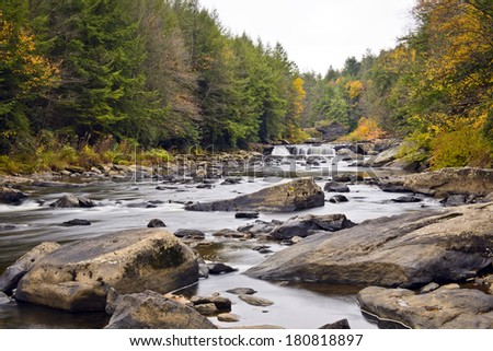 Swallow Falls waterfall in the Appalachian mountains of Maryland - stock photo