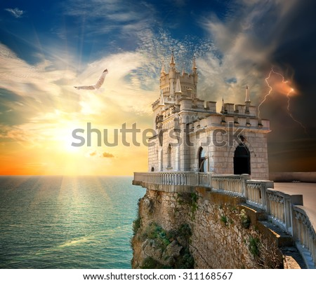 Swallow's Nest Castle on the rock in the Black sea - stock photo