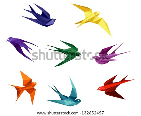 Swallows set in origami style isolated on white background. Vector version also available in gallery - stock photo