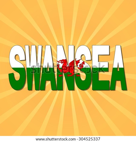 Swansea flag text with sunburst illustration - stock photo