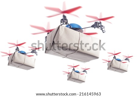 Swarm of drones delivering packages. Same day delivery for more customer satisfaction concept - stock photo