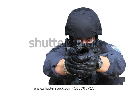 swat police officer pointing a gun at the camera, close-up, isolated on white - stock photo