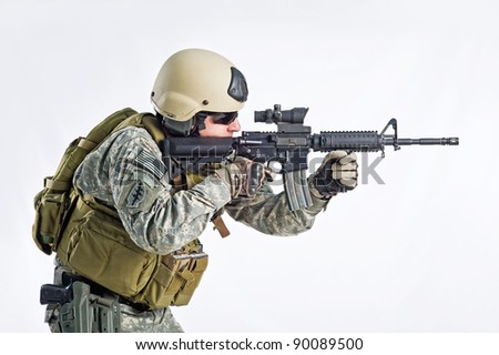 SWAT Team Officer on white isolated background - stock photo