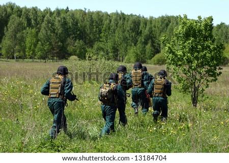 SWAT team on a training. - stock photo