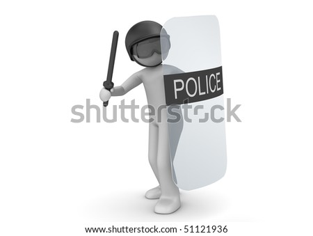 SWAT with shield (3d characters isolated on white background series) - stock photo
