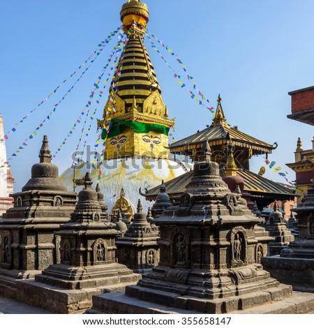 Swayambhunath stupa in Kathmandu, Nepal (before the 2015 earthquakes) - stock photo