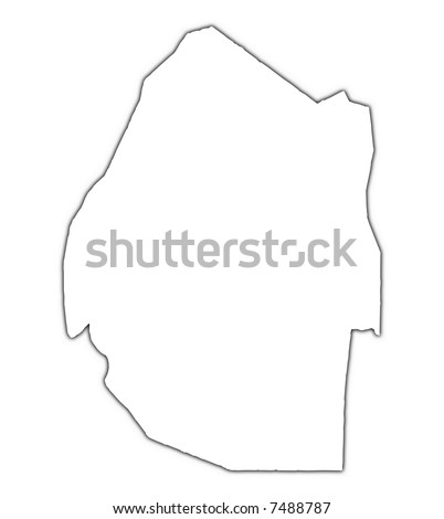 Swaziland outline map with shadow. Detailed, Mercator projection. - stock photo