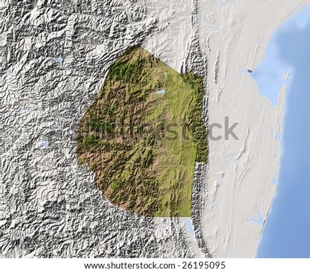 Swaziland. Shaded relief map. Surrounding territory greyed out. Colored according to vegetation. Includes clip path for the state area. - stock photo