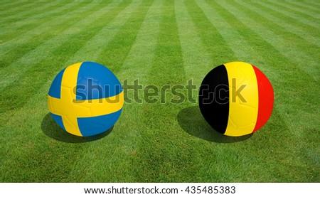 Sweden / Belgium soccer game on grass soccer field 3d Rendering. - stock photo