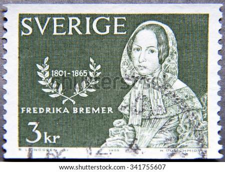 SWEDEN - CIRCA 1965: A postage stamp of Sweden shows Fredrika Bremer, Novelist - stock photo