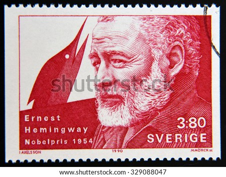 SWEDEN - CIRCA 1990: A stamp printed in the Sweden shows Ernest Hemingway, Nobel Prize for Literature in 1954, circa 1990 - stock photo