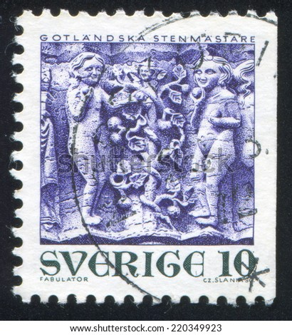 SWEDEN - CIRCA 1971: stamp printed by Sweden, shows Adam and Eve in Gammelgarn church, circa 1971 - stock photo