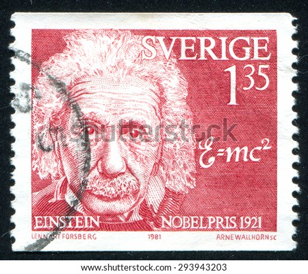 SWEDEN - CIRCA 1981: stamp printed by Sweden, shows Albert Einstein, physicist, circa 1981 - stock photo