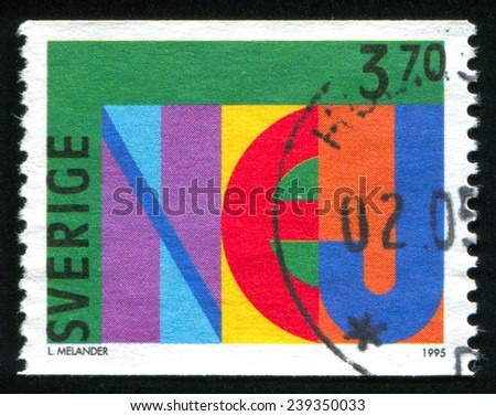 Sweden - CIRCA 1995: stamp printed by Sweden, shows emblem, circa 1995 - stock photo
