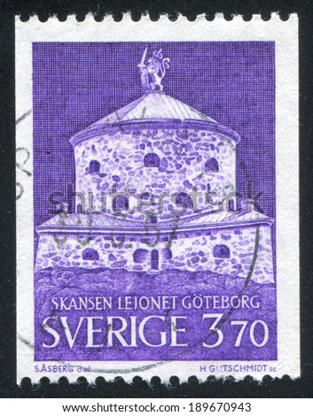 SWEDEN - CIRCA 1967: stamp printed by Sweden, shows Lion Fortress, Gothenburg, circa 1967 - stock photo