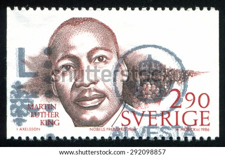 SWEDEN - CIRCA 1986: stamp printed by Sweden, shows Martin Luther King, circa 1986 - stock photo