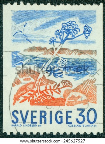 SWEDEN - CIRCA 1967: stamp printed by Sweden, shows Rocky Isles in Bloom, by Harald Lindberg, circa 1967 - stock photo