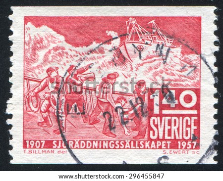 SWEDEN - CIRCA 1957: stamp printed by Sweden, shows Ship in Distress and Lifeboat, circa 1957 - stock photo