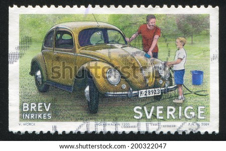 SWEDEN - CIRCA 2009: stamp printed by Sweden, shows Volkswagen Beatle, circa 2009 - stock photo