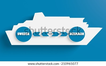 sweden denmark ferry boat route info in icons - stock photo